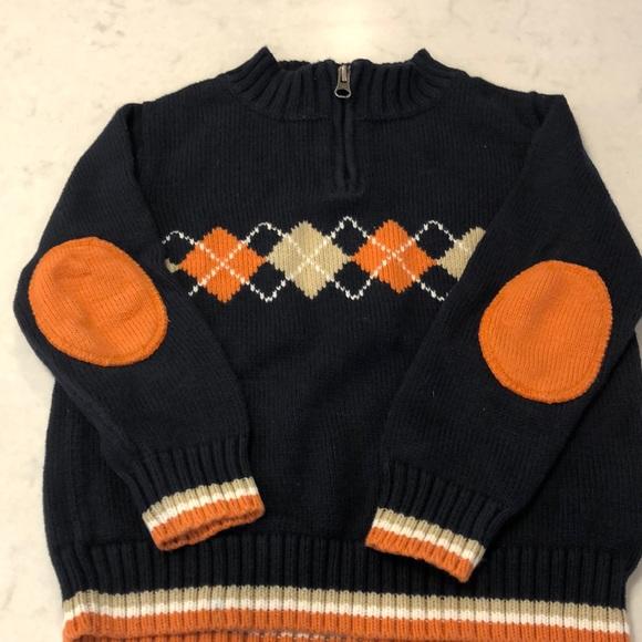 Hanna Anderson Argyle Half Zip Sweater